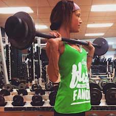 Andrea Brockert lifting weights