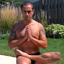 Chris Laino in a yoga pose
