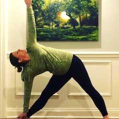 Meg Febel in a yoga pose