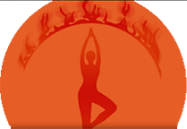Silhouette in a yoga pose with a design overhead