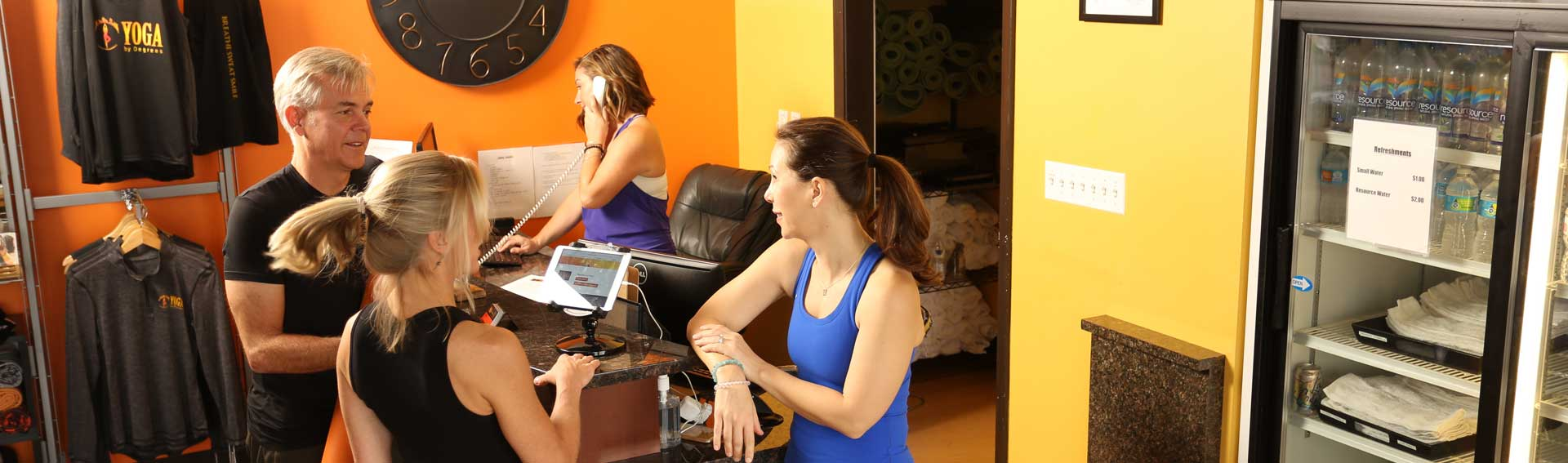 Yoga supply shop staff and customers